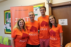 Left to right: Maggie�s Oldham fundraising manager Laura Tomlinson, Philippa�s husband Richard Shales, son Mark Shales and daughter Emma Shales