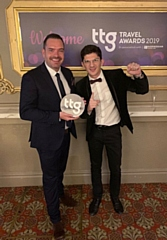 Seb Thompson and Nico Spyrou from Manchester Airport with the award