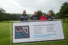 Chris Schofield, Ronnie Whelan & wife Elaine, with Alan Rowland at Logic Wealth Planning�s fourth annual golf day