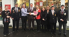 The cheque was presented to the veterans' association at the Sutherland Road McColl's store