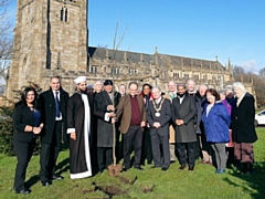 Mayor Billy Sheerin took part in a tree planting at St Chad's Parish Church for Reverend Mark Coleman's retirement