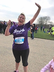 Jade Minchin was inspired to sign up after her husband Andy had a stroke in June 2018 (pictured after last year's run)