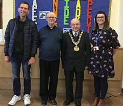Former pupil Thomas Ingham (far left), Father Michael Johonnett (middle), Mayor Billy Sheerin (right) and headteacher Laura Bolton