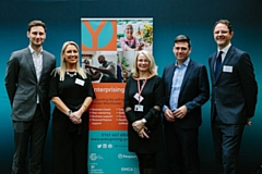 Left to right: Cllr Sean Fielding - Leader of Oldham Council; Janine Smith, Head of Specialist Services – GC Business Growth Hub; Hilary Centeleghe, Growth and Startup Lead at GC Business Growth Hub; Mayor of Greater Manchester Andy Burnham; and Matthew Dooley – People Plus