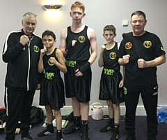 Left to right: Hamer coach Alan Bacon, Austin Heneghan, Luke Whitehead, Kieren McMenamy and Hamer coach Steven Connellan