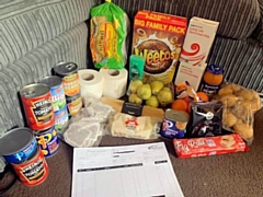The contents of a food parcel received by one local resident on Monday