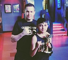Queensway ABC boxer Ibrahim �Ibby� Malik with coach David Hodkinson