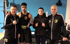 Hamer coach Steven Connellan, Arslan Shoukat, Owen Webster, Hamer coach Alan Bacon