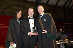 RRG Škoda General Manager Paul Arden picks up the award from TV Presenter Angellica Bell and Škoda UK Sales Director John French