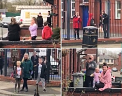 Neighbours in Meanwood sing happy birthday to Tia aged 12 on 1 April