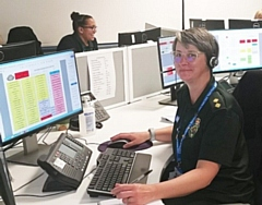Paramedic Catherine Slate works in NWAS' clinical hub undertaking telephone assessment and advice for patients