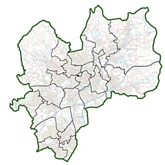 Current wards of Rochdale Borough Council. Image contains Ordnance Survey data (c) Crown copyright and database rights 2020