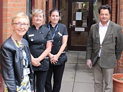 L-R Councillor Pat Dale, assistant cabinet member for adult care; Sharon Whitbread, manager Lakeside Care Home; Donna Tucker, deputy manager Lakeside Care Home; Councillor Iftikhar Ahmed, cabinet member for adult care