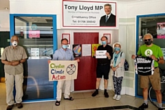 Extinction Rebellion Rochdale protesters at Tony Lloyd MP's office in Rochdale town centre