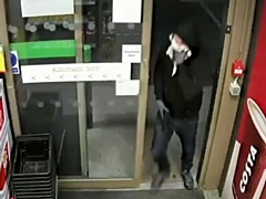 CCTV of the offender in an armed robbery at Greengate Service Station, Middleton