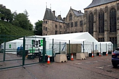 The coronavirus testing site at the rear of Rochdale Town Hall