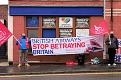 Members of the Unite Union protested against the redundancies being negotiated by British Airways