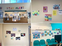 The artwork by children at Littleborough Community Primary School on display at Littleborough Group Practice
