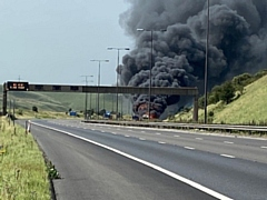 A lorry fire on M62 caused lengthy delays for motorists