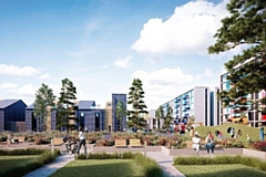 Artist's impression of the redevelopment of the former Central Retail Park site off Drake Street in Rochdale