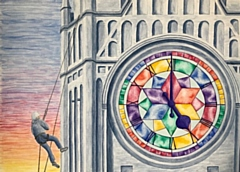 The entry from Janae Ramirez is a painting of her husband abseiling down Rochdale town hall clock tower