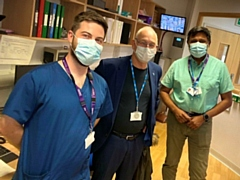 Daniel Benjamin (centre), non-executive director at Pennine Care visits the team at John Elliot Unit, Rochdale as part of the Great Big Thank You week