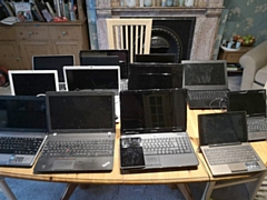 Some of the donated devices ready for refurbishment