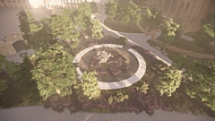 The Glade of Light memorial will be located between Manchester Cathedral and Chetham's School of Music