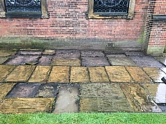 Historic flagstones have been stolen from St Mary in the Baum