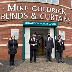 Mike Goldrick Blinds & Curtains presented a cheque to Heywood Veterans Association