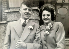 Gordon and Sheila Platt on their wedding day in 1951