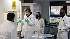 Students in a laboratory at Hopwood Hall