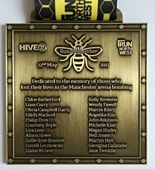Hive22 running club is hosting the Run2Remember event 2021 in memory of those killed in the Manchester Arena bombing (pictured: the Run2Remember medal)