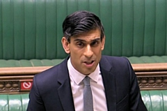The Chancellor Rishi Sunak speaking in Parliament today