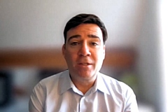 Andy Burnham at the press conference on 3 March