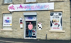 Mark Jones in the entrance of the new Yankee Heaven at Canal Wharf, Littleborough