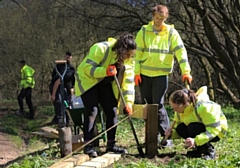 During their first week, the Kickstart cohort have been building a raised boardwalk at Boarshaw Clough in Middleton