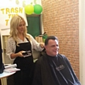 Hare Hill Hero, Iain Bowden, braving the shave with Just Gent's Louise Tierney